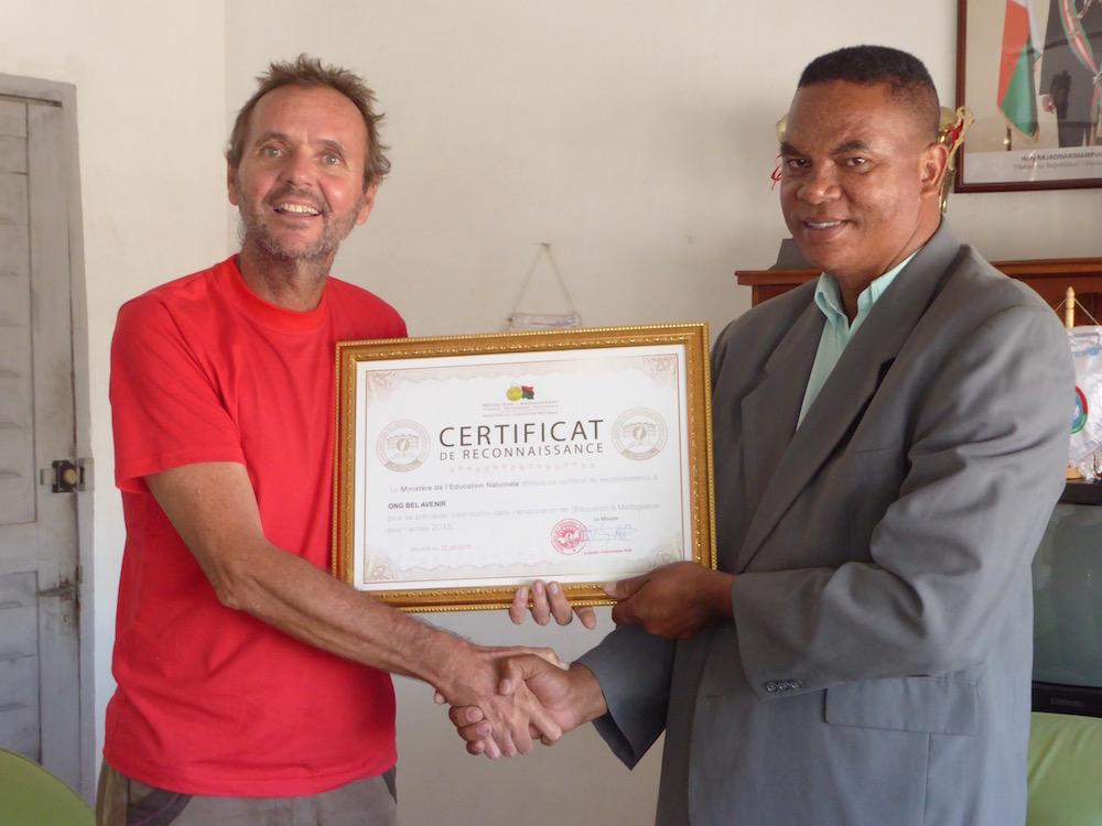 L'engagement de l'ONG Bel Avenir envers l'éducation est récompensé par le Ministère de l'Éducation Nationale