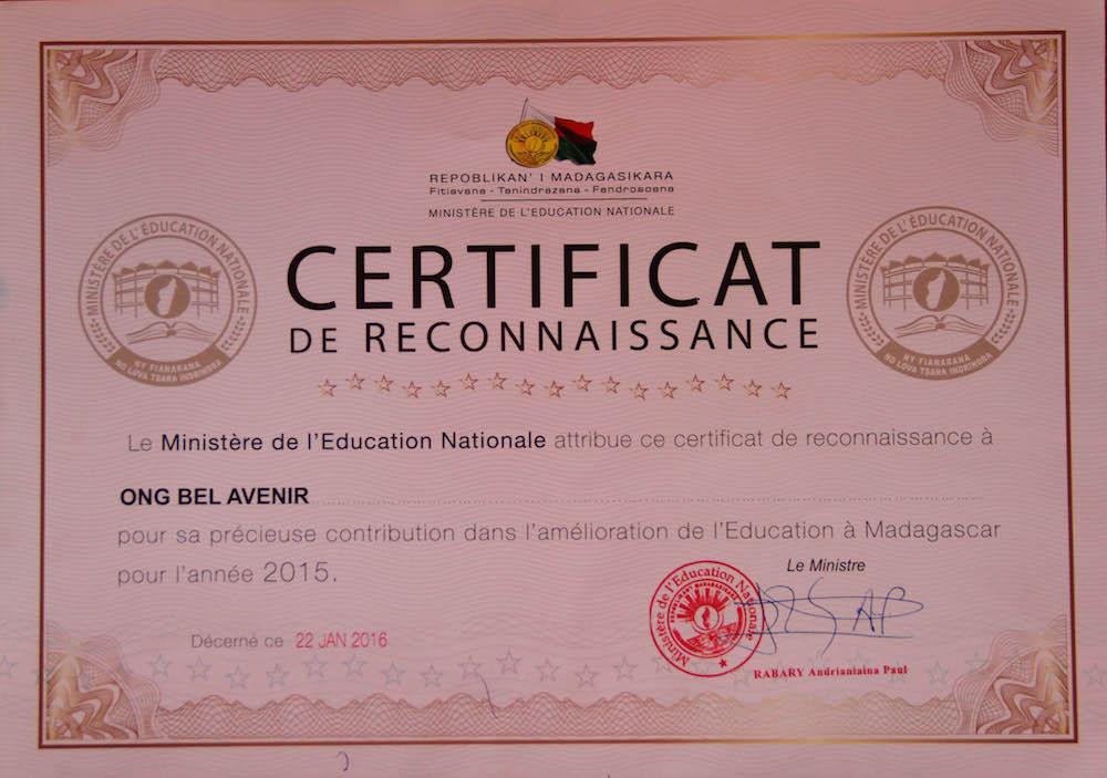 Le travail de l'ONG Bel Avenir reconnu par l'Éducation Nationale