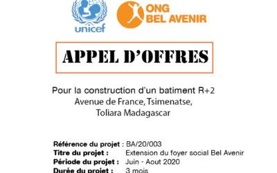Appel d'offres : construction d'un bâtiment  R+2