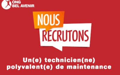 Recrutement :  UN(E) TECHNICIEN(NE) POLYVALENT(E) DE MAINTENANCE